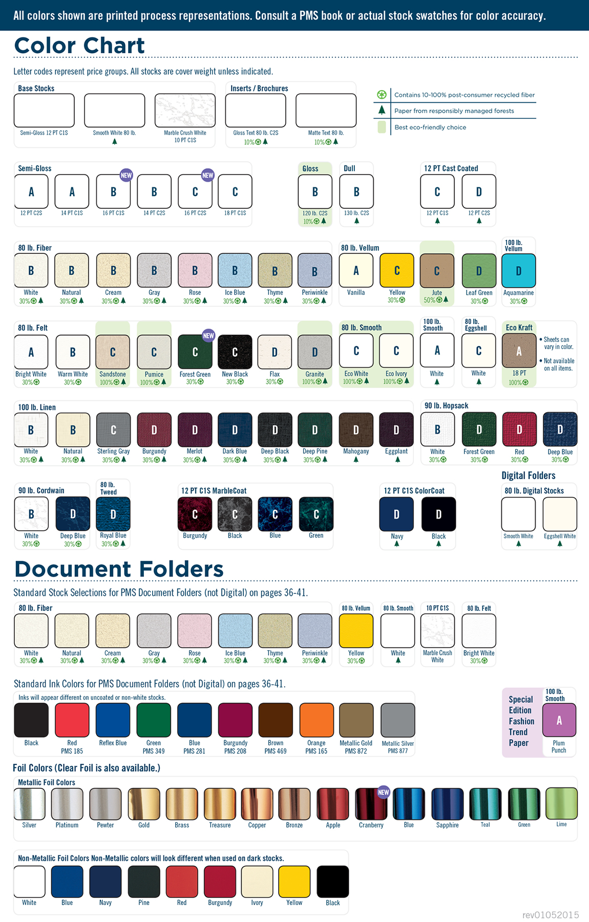 Stock, Ink & Foil Color Chart
